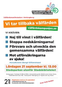 Affisch inför Välfärdsmanifestationenen i Helsingborg 2013