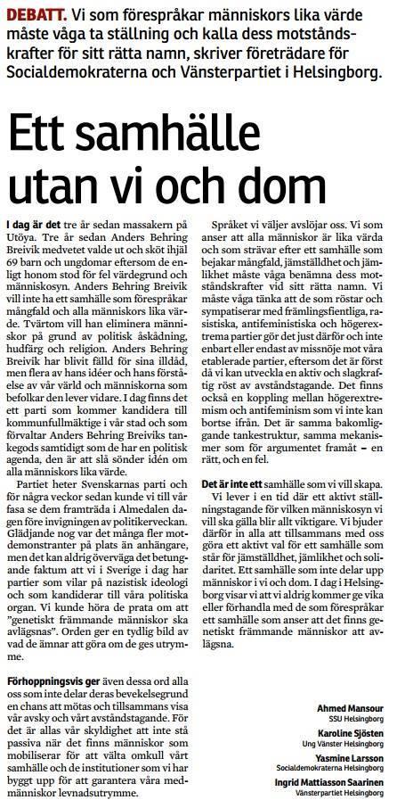 Minnesstund för offren i Uthöa